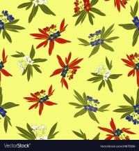 Floridian Floral Print Tropical Pattern Background Vector in Yellow Great for summer and spring collections.