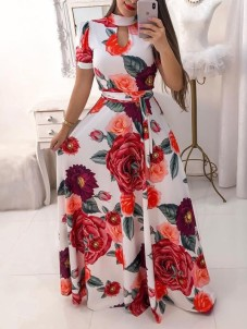 red-white-floral-print-sashes-cut-out-big-swing-high-neck-short-sleeve-bohemian-maxi-dress